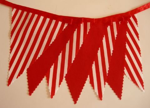 BUNTING Plain Red and Red with White Stripes on Red Satin Ribbon - 3m/10ft or 5m/16ft